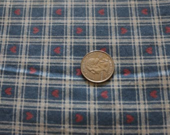 20 VINTAGE Country Homespun Collection Blue and white plaid with pink hearts. Cute! 20
