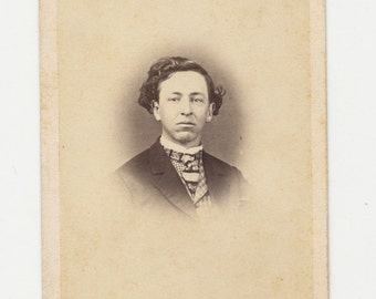 Antique CDV Photograph from the 1800s of Stern Faced Woman