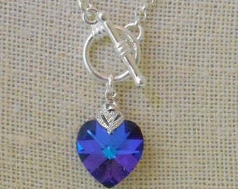 TEST: Crystal Heart Pendant on Sterling Chain With Toggle Clasp