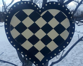 Whimsical Black and White Racer Check Double Layer 12x12 Heart