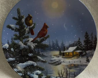 W.L. George Wings of Winter - Moonlight Retreat (Cardinals) Collector Plate (#053)