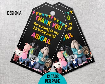 Sing Movie Thank You Tags, Sing Movie Birthday, Sing Movie Party, Sing Printables, Sing Favor Tags, Printable Gift Label, Sing Goody Bag Tag