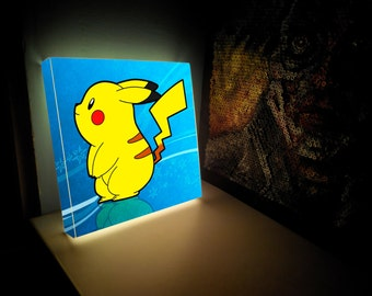 Pokemon Night Light - Personalized  wall  Lamp - Lighted print - wall  lamp