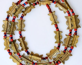 32 Inch Strand of Baule Bronze Beads& Venetian Glass Beads - Vintage African Trade Beads - Baule9