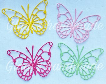 60 carved colored butterflies