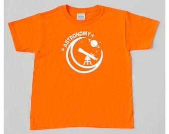 Astronomy kid orange boys shirt telescope planet stars moon