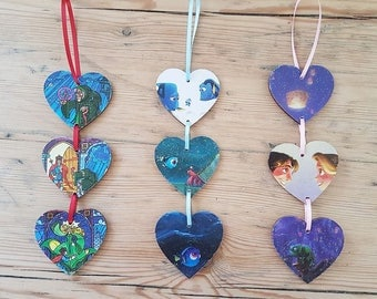 Disney Inspired Three Heart Hanging Wall Decoration MULTIPLE LISTING