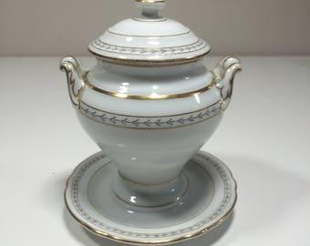 Ancient porcelain gravy boat Bowl-shaped cheese Bowl gold trim