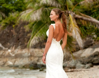 Mermaid Wedding Dress. Mermaide lace Open Back Wedding Dress. Beach Wedding Dress. Sweetheart Bridal Dress With a Train. Chantilly Lace.