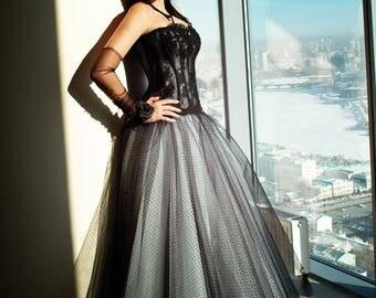 Black & White Wedding Gown. A-line Wedding dress. Ball Gown Wedding Dress. Bridal Dress. Princess Wedding Dress. Black Wedding Dress.
