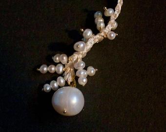 "Pearl Necklace long braided ""Ella"""
