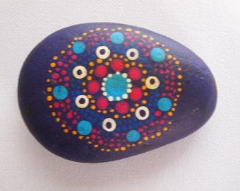 Hand painted, mandala garden rock, stone ornament