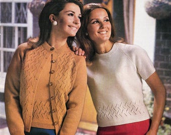 ORIGINAL 60s Ladies Lace Twin Set Knitting Pattern, Sirdar 2467, Lace Cardigan Patterns, Lace Top Knitting, Sweater Pattern, Lace Knitting