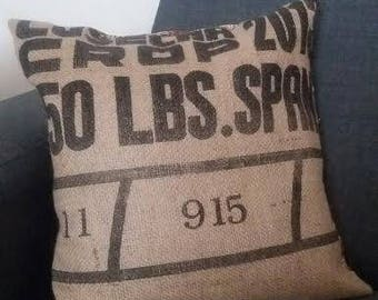 OOAK upcycled coffee sack cushion covers