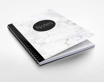 Marble notebook A5 dotted with Innenprint, spiral binding and soft touch cover