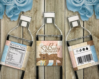 Bear Necessities - Baby Shower Printable Water Bottle Labels - Instant Download