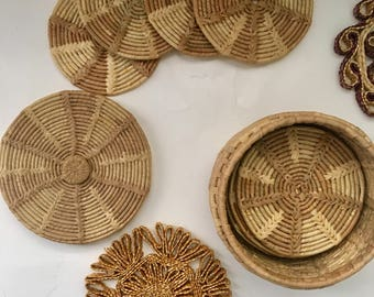 Wicker coasters with Basket