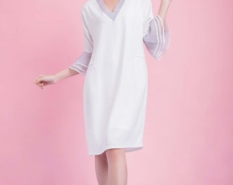 Bell Sleeves White Dress