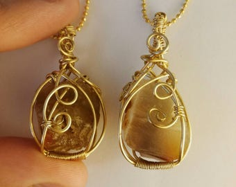 Caramel agate and brass pendant necklace, Crystal Necklace, gold necklace