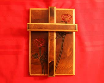 Handcrafted cross and roses wall hanging