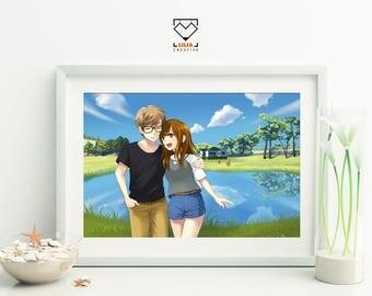 Custom portrait digital drawing, Japanese manga anime style couple portrait illustration