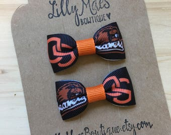 Oregon State Beavers inspired mini bow, OSU Mini Tuxedo Hair Bows, baby & toddler hair clip, mini bow