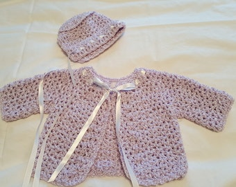Crocheted Baby Sweater With Cap