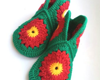 Women's wool Crochet Slippers, Mother's Day, Wool House Shoes, women's house slippers, Handmade Wool Slippers, size 6 7 8 9 10 11