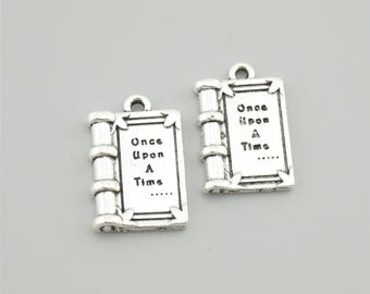 10pcs 25x22mm Antique Silver Once Upon A Time Charm Pendants Book Charm Pendants Z0144