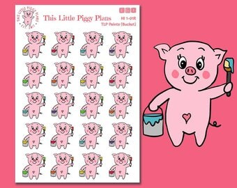 Paint Bucket Planner Stickers, Planner Stickers, Paint, Painting, Home Improvement, DIY, [HI 1-01R]