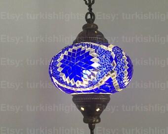 Turkish Mosaic Single Hanging Lamp,  Large Globe, Turkish Mosaic Lantern, Special Edition