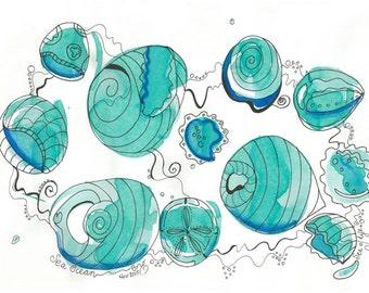 Sea Ocean – Original Inks and Felt Pen