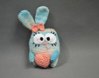 bunny crochet amigurumi with heart and bowknot blue yarn happy crazy toy