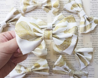 SALE Golden Feather hair bow | FloralinkBows