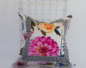 White and Floral Print Decorative Pillow with Black and White Greek Trim