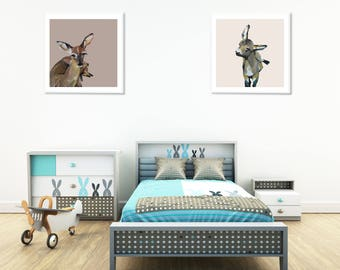 Kids Room Printable Set, Animal Printable Painting For Nursery, Zoo Animal Nursery Prints, Baby Nursery Wall Decor Ideas, Fawn Printable