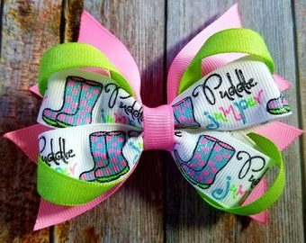 Spring Bow, Puddle Jumper, Rain Bow, Spring Hair Bow, Pink Bow
