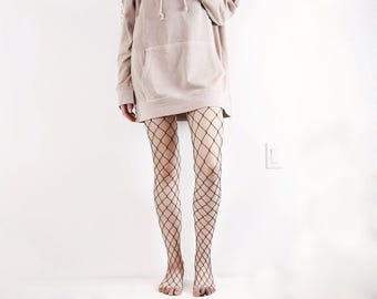 Large Net Fishnet Tights | Red, White, and Black