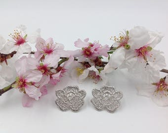 "Silver earrings ""Begonia"". Organic earrings. Handmade earrings. Handmade earrings. Floral earrings."