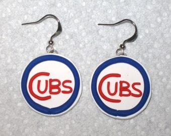 Chicago Cubs Earrings,Cubs Baseball Logo Earrings,Cubs Polymer Clay Earrings,Chicago Cubs Clay Dangle Earrings,Chicago Cubs,Sports Earrings