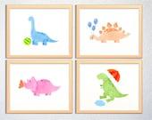 Cute dinosaur wall art set of 4 brachiosaurus T-rex triceratops stegosaurus, nursery kids and baby decor - digital print - Instant download