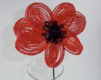 Hand Beaded  Orange poppy Flower
