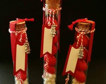 Glass favor tubes for graduation