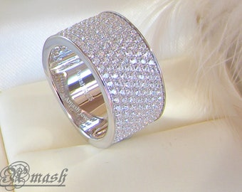 925 sterling silver ring wide wedding band7row engagement half eternity ringstacking - Wide Band Wedding Rings