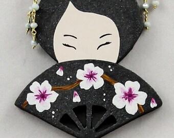 Magic pendant East, Japan, Geisha, cherry blossoms, original jewellery, wooden jewellery