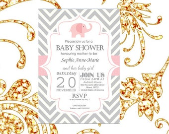Pink Elephant Baby Shower Editable Printable Invitation/Invite - Instant Download