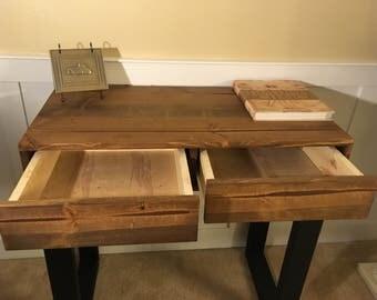 Two drawer solid wood office desk in dark walnut finish (custom options)