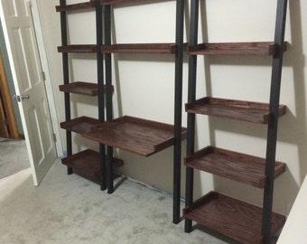 Leaning Modular Oak Desk with Shelves