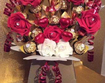 Ferrero Rocher & Lindt Lindor Milk Chocolate, Hearts and Roses Bouquet