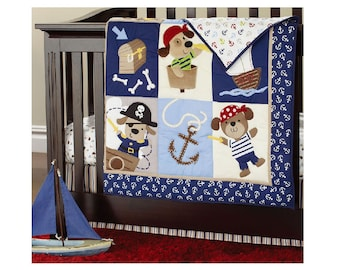 Adorbzbaby Pirate Dog 4 Piece Complete Baby Bedding Set